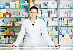 Image of pharmacist with non-prescription medications