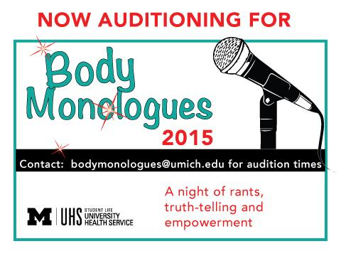 Body Monologue  Audition poster