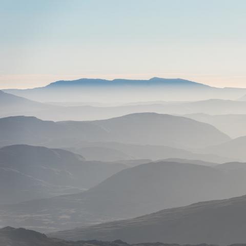 mountains receding