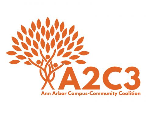 Orange tree made up by a family. The acronym A2C3 and Ann Arbor Campus-Community Coalition underneath.