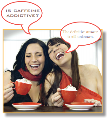 Two women drinking coffee, with text: Is coffee addictive? The difinitive answer is still unknown.