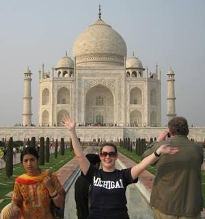 University of Michigan student in front of the Taj Majah