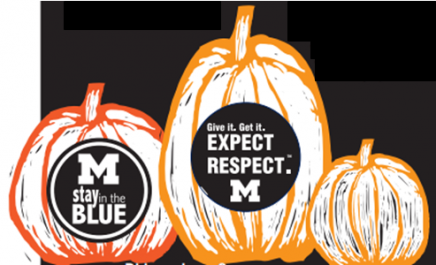Halloween pumpkins with Stay in the Blue and Expect Respect messages