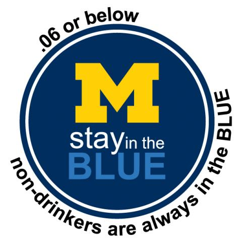 Stay in the Blue: .06 or below, non-drinkers are always in the Blue