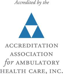 Logo that reads Accredited by the Accreditation Association for Ambulatory Health Care, Inc.