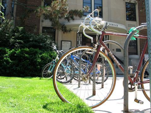 Bicycles in front of University Health Service