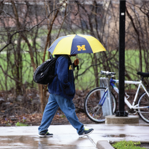 student with University of Michigan umbrella walking in the rain