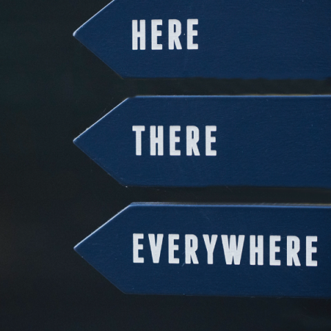 """Directional signs with """"here, there, everywhere"""" written on them"""