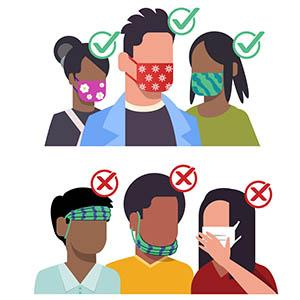 Do's and don'ts of wearing a mask, from the CDC, https://www.cdc.gov/coronavirus/2019-ncov/prevent-getting-sick/how-to-wear-cloth-face-coverings.html