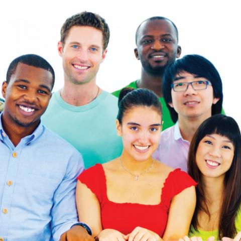 Multicultural group of students