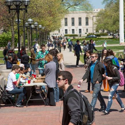U-M campus scene with students in the diag