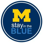 stay in the blue logo with block M, University of Michigan