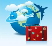 Globe, plane and suitcase